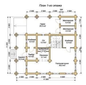 Планировка 1 этажа проекта дома из ОЦБ 11х11 с навесом (гаражом)