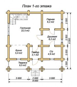 План 1 этажа проекта дома из оцилиндрованного бревна 8.5х8 с баней и вторым светом