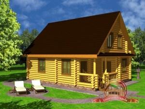 Сруб дома из оцилиндрованного бревна 8х10 с четырьмя спальнями