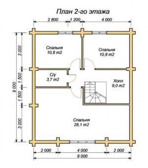 План 2 этажа дома из бревна 9х12