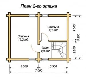 План 2 этажа дома из оцилиндрованного бревна 7х8.2 с верандой