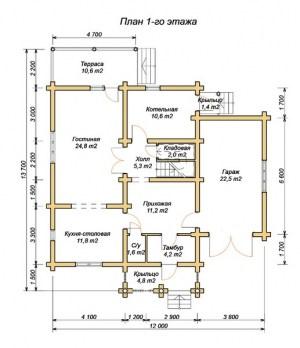 План 1 этажа проекта дома из оцилиндрованного бревна 12х 13.7