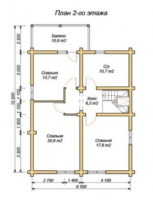 План 2 этажа проекта дома из оцилиндрованного бревна 12х13.7