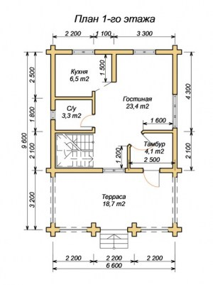 План 1 этажа проекта дома из ОЦБ 6.6х9.6 с ломаной крышей