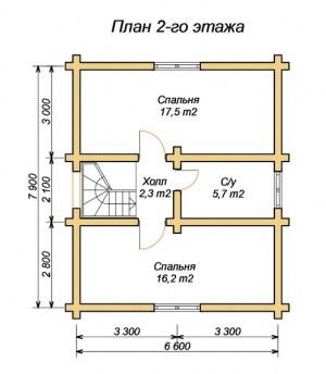 План проекта 2 этажа дома из оцилиндрованного бревна 7.9х8.6 в 2 этажа