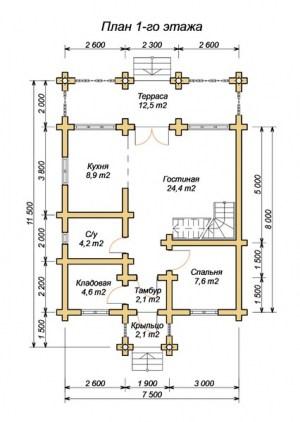Планировка 1 этажа проекта сруба из ОЦБ 7х11 с крыльцом