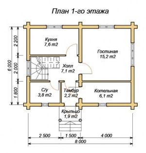 План 1 этажа проекта дома из оцилиндрованного бревна 6х8 с ломанной крышей и туалетом