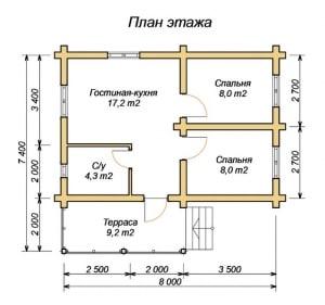 Планировка дома из оцилиндрованного бревна 7х8 с террасой