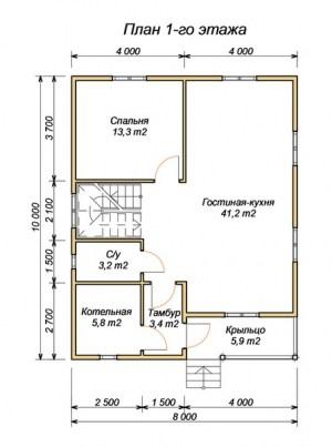 План 1 этажа проекта дома из бруса 8 на 10