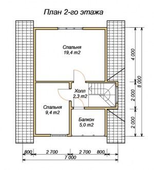 План 2 этажа брусовго дома 7х8