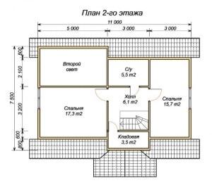 План 2 этажа проекта деревянного дома из бруса 7.5х11 с сауной, туалетом, комнатой отдыха