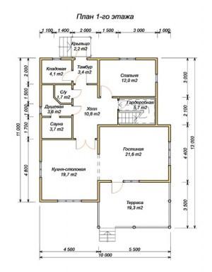 План 1 этажа проекта дома из бруса 10х11 метров