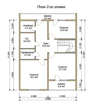 План 2 этажа проекта дома из бруса 10х11 метров