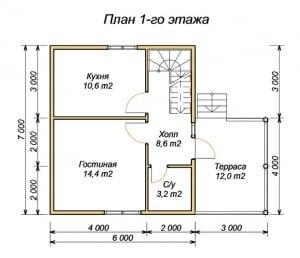 План 1 этажа проекта дома из бруса 7х6 с террасой