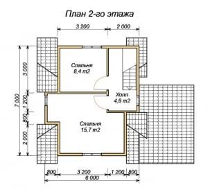 План 2 этажа проекта дома из бруса 7х6 с террасой
