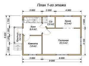 План первого этажа для оригинального дома из бруса 6 на 9