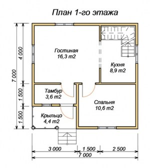 План первого этажа  дома из бруса 7х7 с крыльцом