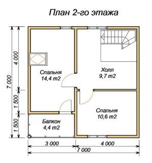 План второго этажа  дома из бруса 7х7 с крыльцом