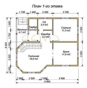 План 1 этажа дома из бруса 8х9