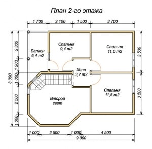 План 2 этажа дома из бруса 8х9