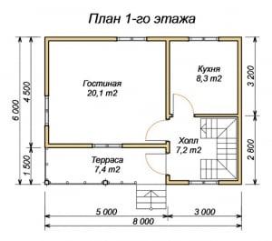 План 1 этажа проекта дома из бруса 6х8 с террасой