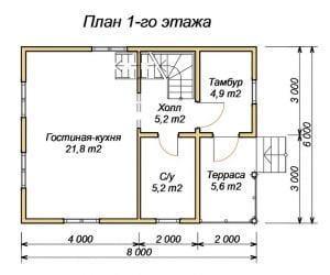 План 1 этажа дома из бруса 6х8