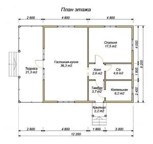 Планировка дома из бруса 8х9