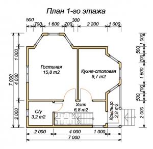 План нижнего этажа дома из бруса 7х7 с эркером