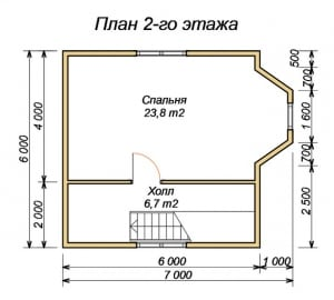 План верхнего этажа дома из бруса 7х7 с эркером
