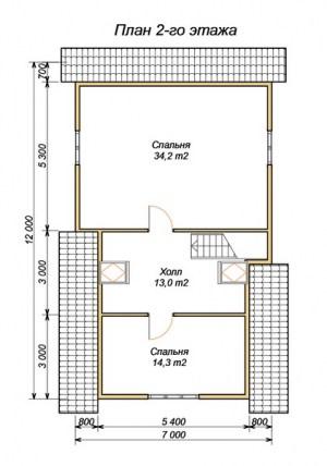 Планировка 2 этажа проекта дома из бруса 7х12 с крыльцом