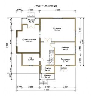 План 1 этажа проекта дома 11х11.5