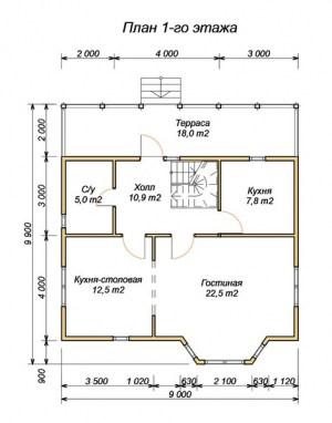 План 1 этажа проекта дома из бруса 7на9