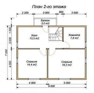 План 2 этажа проекта дома из бруса 7на9