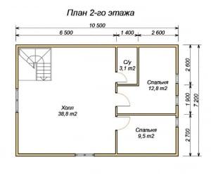План 2 этажа проекта дома из бруса 8 на 10.5