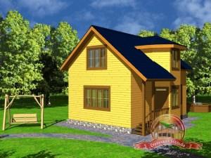 Дом из бруса 8х9 с эркером и крыльцом