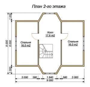 План 2 этажа проекта дома из бруса 8х9