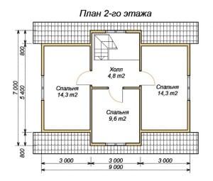 План 2 этажа проекта дома из бруса 7 на 9 с четырьмя спальнями
