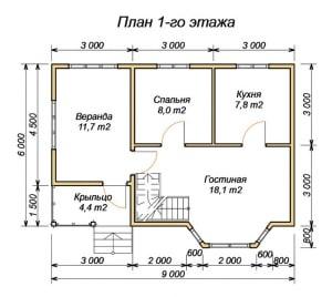 Планировка 1 этажа дома из бруса 6 на 9