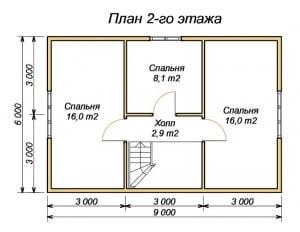Планировка 2 этажа дома из бруса 6 на 9