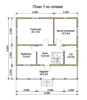План 1 этажа проекта дома из бруса 7х9 с террасой