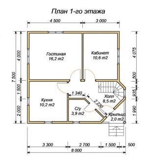 План 1 этажа проекта дома из бруса 7.5х8 с эркером