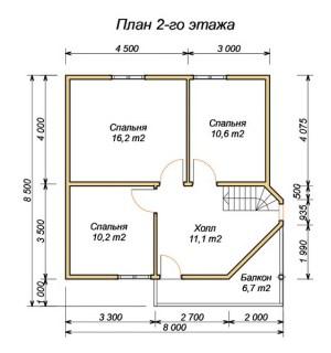 План 2 этажа проекта дома из бруса 7.5х8 с эркером