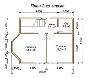 План 2 этажа проекта дома из бруса 6х8