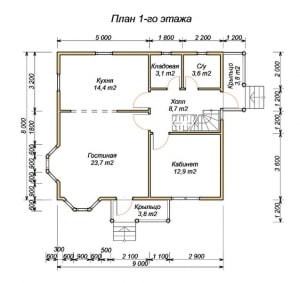 План 1 этажа проекта дома из бруса 8х9 с крыльцом