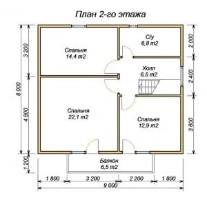 План 2 этажа проекта дома из бруса 8х9 с крыльцом