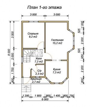 План 1 этажа проекта дома из бруса 6 на 8 с крыльцом