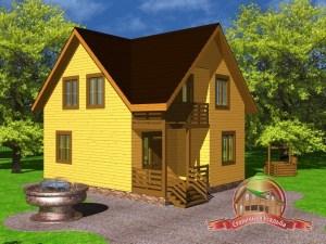 Дом из бруса 7х9 с тамбуром и крыльцом