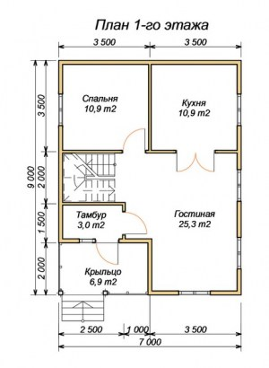 План 1 этажа проекта дома из бруса 7 на 9