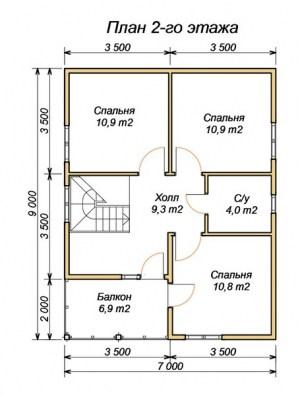 План 2 этажа проекта дома из бруса 7 на 9