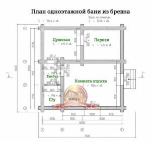 Планировка внутреннего пространства элитной бани из бревна